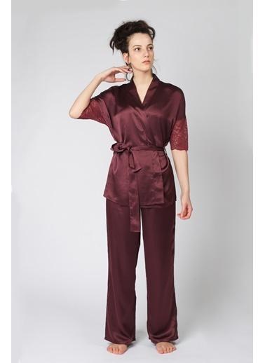 Hays Glamour Saten Kadın Dantel Detaylı 2Li Pijama Takımı Bordo